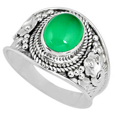 3.19cts natural green chalcedony 925 silver solitaire ring size 8.5 r58248