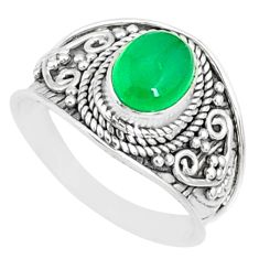 2.22cts natural green chalcedony 925 silver solitaire ring size 7.5 r81421