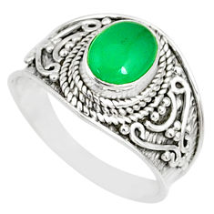 1.91cts natural green chalcedony 925 silver solitaire ring size 7.5 r81422