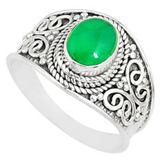 1.99cts natural green chalcedony 925 silver solitaire ring size 8.5 r81423