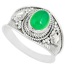 1.99cts natural green chalcedony 925 silver solitaire ring size 9.5 r81425