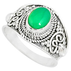 2.00cts natural green chalcedony 925 silver solitaire ring size 7.5 r81426
