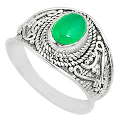 2.14cts natural green chalcedony 925 silver solitaire ring size 8.5 r81430