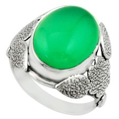 9.70cts natural green chalcedony 925 silver solitaire ring size 8 r22748