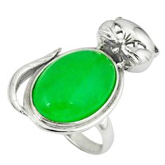 Natural green chalcedony 925 sterling silver cat ring jewelry size 7 c23688