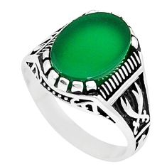 Natural green chalcedony 925 sterling silver mens ring size 10 c11549
