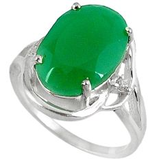 6.33cts natural green chalcedony 925 sterling silver ring size 6.5 c26029