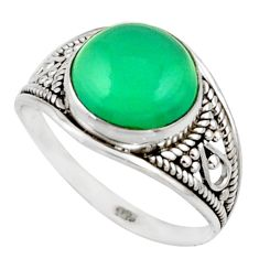 4.71cts natural green chalcedony 925 sterling silver ring jewelry size 8 r42762