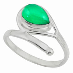 2.75cts natural green chalcedony 925 sterling silver ring jewelry size 8 r44861