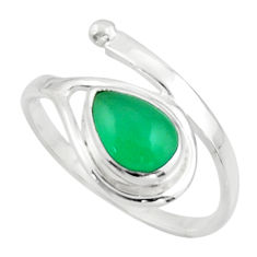 2.74cts natural green chalcedony 925 sterling silver ring size 8.5 r44862