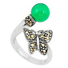 Natural green chalcedony butterfly 925 silver adjustable ring size 6.5 c22317
