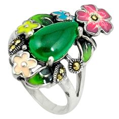 Natural green chalcedony marcasite 925 silver flower ring size 6.5 c15993
