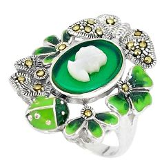 Natural green chalcedony marcasite 925 silver lady face ring size 6.5 c16260