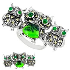 Natural green chalcedony marcasite 925 silver owl ring jewelry size 6.5 c18607