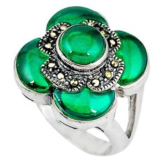 Natural green chalcedony marcasite 925 silver ring jewelry size 5.5 c16343
