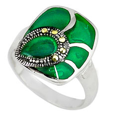Natural green chalcedony marcasite 925 silver ring jewelry size 6.5 c16219