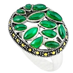 Natural green chalcedony marcasite 925 silver ring jewelry size 6.5 c18757