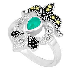 Natural green chalcedony marcasite 925 sterling silver ring size 5.5 c17623
