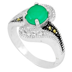 Natural green chalcedony marcasite 925 silver ring jewelry size 6.5 c17657