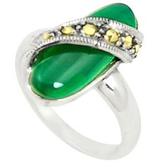Natural green chalcedony marcasite 925 silver ring jewelry size 7.5 c17449