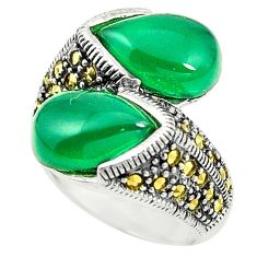 Natural green chalcedony marcasite 925 silver ring size 8.5 c17395
