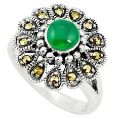 Natural green chalcedony marcasite 925 silver ring size 6.5 c17439