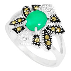 2.23cts natural green chalcedony marcasite 925 silver ring size 7.5 c23625