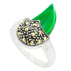 Natural green chalcedony marcasite 925 silver ring jewelry size 6 c17330