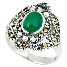 Natural green chalcedony marcasite 925 silver ring jewelry size 7 c16332