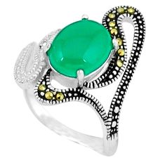 Natural green chalcedony marcasite 925 silver ring jewelry size 7 c17638