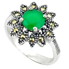 Natural green chalcedony marcasite 925 silver ring jewelry size 7 c17378