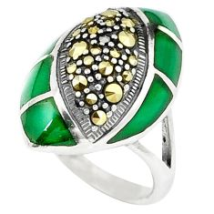 Natural green chalcedony marcasite 925 silver ring jewelry size 7 c22334