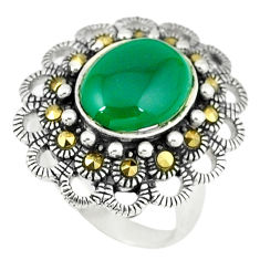 5.30cts natural green chalcedony marcasite 925 silver ring size 6 c17496