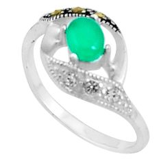 1.12cts natural green chalcedony marcasite 925 silver ring size 6 c23627