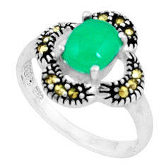 2.31cts natural green chalcedony marcasite 925 silver ring size 6 c23634