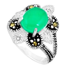 3.01cts natural green chalcedony marcasite 925 silver ring size 6 c23667