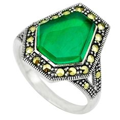 5.51cts natural green chalcedony marcasite 925 silver ring size 7 c18694