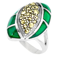 5.12cts natural green chalcedony marcasite 925 silver ring size 7 c16388