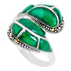 2.93cts natural green chalcedony marcasite 925 silver ring size 7 c21429
