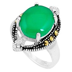 5.38cts natural green chalcedony marcasite 925 silver ring size 7 c23666
