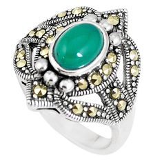2.27cts natural green chalcedony marcasite 925 silver ring size 8 c16335