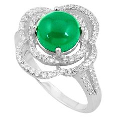 6.84cts natural green chalcedony marcasite 925 silver ring size 9 c23565