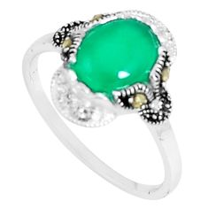 4.16cts natural green chalcedony marcasite 925 silver ring size 9 c23631