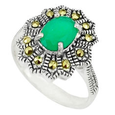 Natural green chalcedony marcasite 925 sterling silver ring size 7 c17363