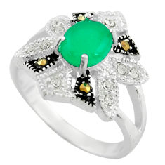3.63cts natural green chalcedony marcasite 925 sterling silver ring size 7 c9980