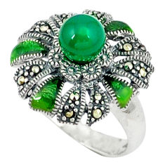 Natural green chalcedony marcasite enamel 925 silver ring size 6.5 c18630