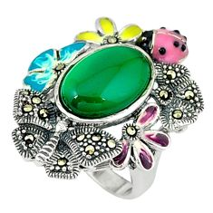 Natural green chalcedony marcasite enamel 925 silver ring size 6.5 c18572