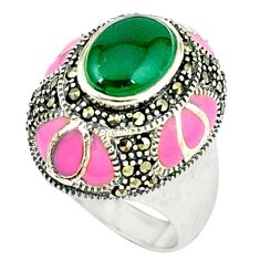 Natural green chalcedony marcasite enamel 925 silver ring size 8.5 c18645