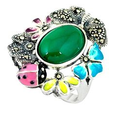 Natural green chalcedony marcasite enamel 925 silver ring size 6.5 c18567