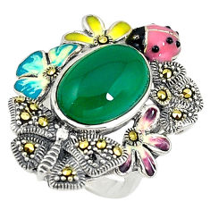 Natural green chalcedony marcasite enamel 925 silver ring size 5.5 c15926